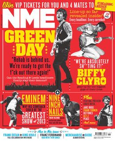 NME Magazine cover, Green Day, March 16th 2013 Rock N Roll Music, Rock And Roll, Nme Magazine, Magazine Covers, Vip Tickets, Music Magazines, March 2013, Green Day, Pop Culture