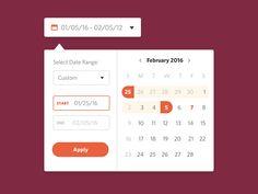 Date Picker designed by Ayana Campbell Smith. Calendar Ui, Calendar Date, Flat Design, App Design, Material Design Web, Ui Components, Web Forms, Self Massage, Fitness Gifts