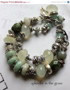 chunky charm bracelet, green bracelet, bold bracelet, pandora bracelet, silver bracelet, .....Splendor in the Grass