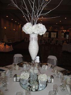 Winter Wedding Centerpiece. #capriottiscatering #winterwedding #wedding #centerpiece #capriottispalazzo