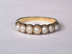 Antique 19th Century 18k Gold Natural Pearl Ring