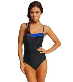 4ee3ee5ea5e Speedo Color Block Bandeau One Piece Swimsuit at SwimOutlet.com - Free  Shipping