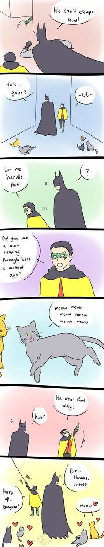 Because Damian can speak cat-language