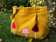 Crazy mushrooms - upcycled yellow tote, made from old corduroy trousers, with a bit of applique and hand embroidery