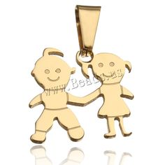 Stainless Steel Pendants, Couple, gold color plated, 20x19.50x1.50mm,china wholesale jewelry beads