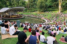 Travel guide resource for your visit to Singapore. Discover the best of Singapore so you can plan your trip right. Singapore Garden, Visit Singapore, Outdoor Stage, Outdoor Theater, Landscape And Urbanism, Landscape Design, Amphitheater Architecture, Lake Landscaping, Expedia Travel