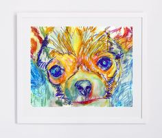 Colorful Chihuahua Painting print, Abstract Cihuahua painting, watercolor art print,Chihuahua Dog picture,Chihuahua… #dogs #etsy #art