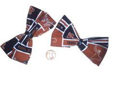2 Texas Longhorn Bows, Hairbows, Sports bows, Women's hair bows, College Football, Longhorns Fabric, Longhorns Bows,