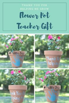 """Thank you for helping me grow!"" These flower pots make the perfect teacher gift for all ages and are a fun way to get the kid involved in the craft! An easy DIY tutorial for end of the year or teacher's appreciation day!"
