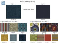 """""""Navy"""" color family and coordinating fabrics."""