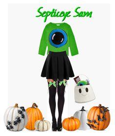"""Septiceye Sam Costume"" by septiplier-supporter ❤ liked on Polyvore featuring Leg Avenue, Grandin Road, Oscar de la Renta, Improvements, Doublju, K&K Interiors, Levtex and Hershey's"