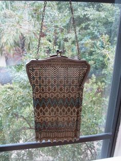 vintage 1920s purse bag Art Deco enameled mesh by Teagown on Etsy, $120.00