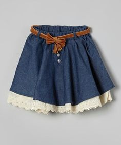 This Richie House Blue Pearl & Lace Skirt - Toddler & Girls by Richie… Little Girl Skirts, Baby Girl Skirts, Skirts For Kids, Little Girl Outfits, Cute Outfits For Kids, Little Girl Fashion, Fashion Kids, Baby Dress, Pearl And Lace