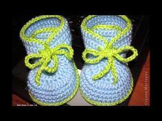 Zapatos tejidos a crochet para niño y niña - YouTube