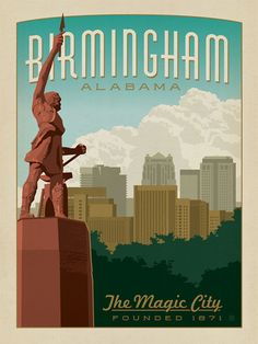 Birmingham, Alabama - This classic print of the Vulcan statue overlooking the Birmingham skyline is sure to brighten any home or office wall. Celebrate the Magic City's historic charm by decorating with this iconic design. Birmingham Skyline, Birmingham Alabama, Huntsville Alabama, Tourist Info, Vintage Travel Posters, Poster Vintage, Magic City, Sweet Home Alabama, Ppr