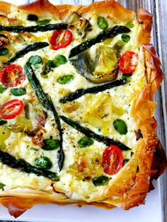Spring Vegetable Ricotta Tart with Phyllo - Proud Italian Cook