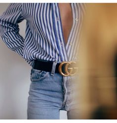 button up, jeans and gucci belt