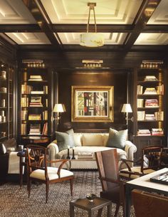 A handsome library with lacquered walls by David Kleinberg. 10 Interiors from 2016 Kips Bay Showhouse Designers. Home Library Rooms, Home Library Design, Home Libraries, Home Office Design, House Design, Library Bar, Library Ideas, Home Interior, Interior And Exterior