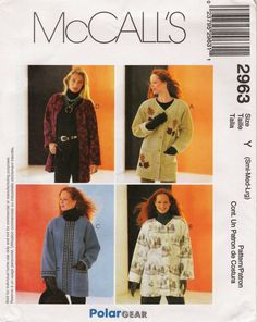 McCall's 2963 Misses' Unlined Jackets
