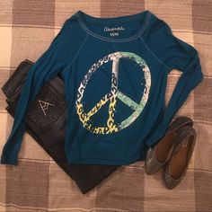 Aeropostale Peace Long Sleeve Shirt This shirt is in great condition. Such cute details and stretchy material. All other items in listing are for sale too so ask me about bundles or look for their listing!  Aeropostale Tops Tees - Long Sleeve