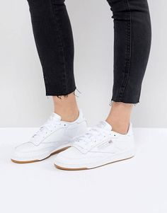 54b2224a3853 Reebok Classic Club C 85 Sneakers In White Leather With Gum Sole Rebok  Sneakers