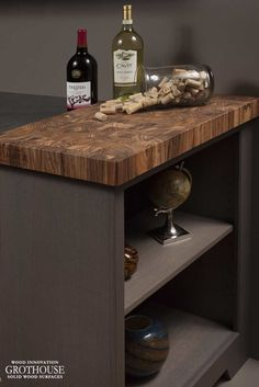 Zebrawood Butcher Block for Gray Cabinets by Grothouse https://www.glumber.com/