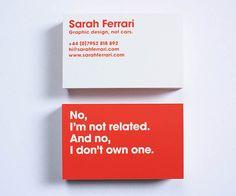Projeto inspirador de cartão de visita. Red And White Sarah Ferrari Business Card
