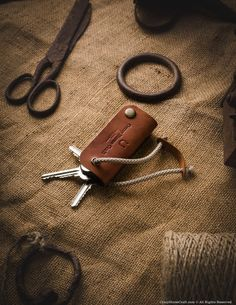Leather key organiser, holder, brown