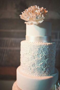 Lace Adorned Wedding Layer Cake With Touch of Peach