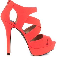 Qupid Women's Zane - Neon Coral Nu PU ($55) ❤ liked on Polyvore featuring shoes, sandals, heels, high heels, zapatos, pink, platform sandals, pink high heel shoes, pink shoes e high heel sandals
