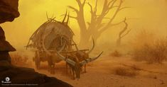 View an image titled 'Convoy in Sandstorm Art' in our Assassin's Creed Origins art gallery featuring official character designs, concept art, and promo pictures. Dark Artwork, Fantasy Artwork, Dnd Backgrounds, Assassins Creed Origins, Fantasy Inspiration, Fantasy World, Art Direction, Amazing Art, Art Reference