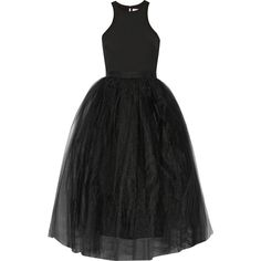 Elizabeth and James Aneko stretch-ponte and tulle midi dress ($750) ❤ liked on Polyvore featuring dresses, black, black dress, black stretch dress, ponte dress, slimming cocktail dresses and black tulle cocktail dress