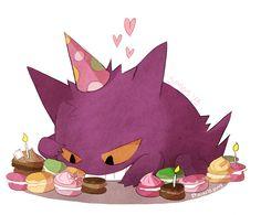 Gengar Birthday by Sassy Pokemon Go, Pokemon Gengar, Ghost Type Pokemon, Pokemon Memes, Pokemon Fan Art, Cute Pokemon, Pikachu, Star Y Marco, Pokemon Birthday