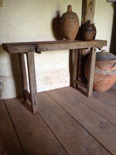 oak table at Franck Delmarcelle's antiques Shop.