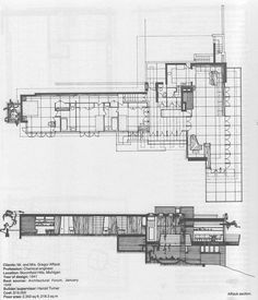 Plan and section. Affleck house, Frank Lloyd Wright. Usonian Style. Bloomfield Hills, Michigan.1940