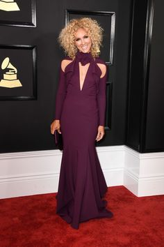 Kimberly Schlapman of Little Big Town  wore a Greta Constantine Fall 2016 cutout plum gown Styling (Karla Welch) | The 59th GRAMMY Awards at STAPLES Center on February 12, 2017 in Los Angeles, California.