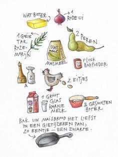 Kookboekenschrijver, illustrator en kok Yvette van Boven bakt elke week een gerecht in de oven. Watercolor Food, Food Journal, Digi Stamps, Food Illustrations, Aesthetic Wallpapers, Food Art, Bread Recipes, Art Journals, Cook