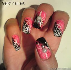pink halloween nail design » Nail Designs & Nail Art. don't really like the overall design, just pinning bc of the pearl spiders