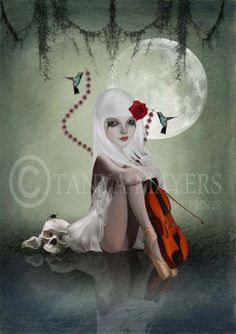 Gothic Fantasy Art Print - Goth Girl & Violin - Dream In Motion. $17.00, via Etsy.