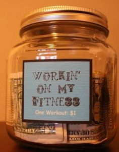 "Tip yourself $1 each time you workout and ""When you have achieved one of your goals"" reward yourself using your fitness bank. Instead of purchasing food as your treat some ideas... a massage, new fitness clothing or gear, Smaller Size Clothes!"