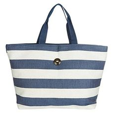 Cappelli Straworld Extra Large Toyo Striped Beach Town Tote Bag (Navy & White)