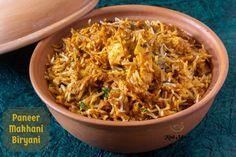 Paneer Makhani Biryani - Kali Mirch - by Smita Indian Food Recipes, Gourmet Recipes, Ethnic Recipes, Rice Recipes, Vegetarian Recipes, Lunch Recipes, Breakfast Recipes, Paneer Makhani, Paneer Biryani