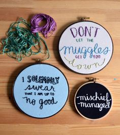 I solemnly swear that I am up to no good Harry Potter embroidery by BreezebotPunch