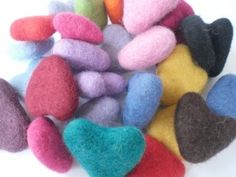 100% Wool Felt Hearts on Blooming Felt