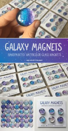 Each one is handpainted, and uses real glass beads and heavy duty ceramic magnets! They come in a set of 6 and are prepackaged making them fantastic gifts for any holiday! New Crafts, Diy Crafts For Kids, Art For Kids, Galaxy Theme, Galaxy Art, Glass Magnets, Making Glass, Watercolor Galaxy, Girls Camp
