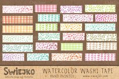 Watercolor Washi Tape by swiejko on Creative Market