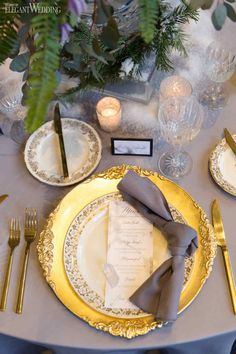 In case you couldn't tell by the artificial snow covering the aisle and tables, this grey and gold wedding shoot found its inspiration from winter. Wedding Shoot, Gold Wedding, Wedding Linens, Winter Wedding Inspiration, Grey And Gold, Big Day, Artificial Snow, Plates, Table Decorations