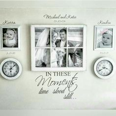 Personalized gallery wall. I set the clocks to each child's birth time. Decals…