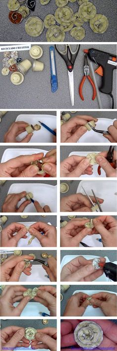 Infographic how to make flowers with coffee capsules: - Jewelry Cup Crafts, Diy And Crafts, Dosette Nespresso, Recycling Facts, Beads And Wire, Flower Making, Diy Tutorial, Diy Jewelry, How To Make