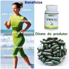 Spirulina em cápsulas - 120 unidades de 459mg - produto brasileiro.